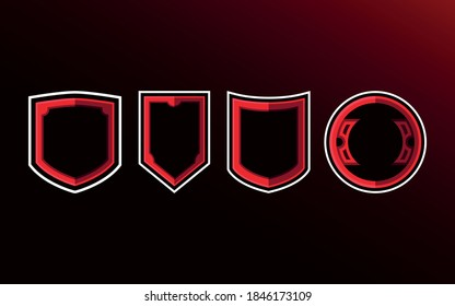 set of  shield badge for esport logo. Shield esport  in blank template
