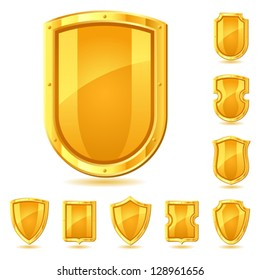 Set of shield icons, symbols and signs.