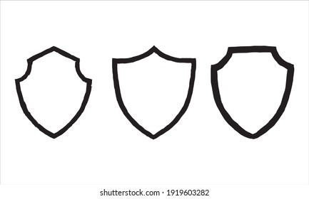 set of shield shape frame for logo template. design for unique retro icon and emblem badge in vector. can use to business, team, decoration, or any other creative concept.