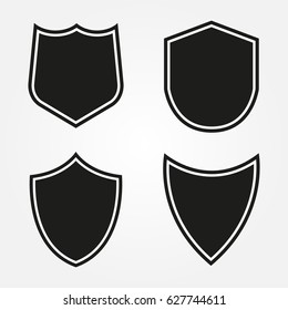 Set of shield shapes.Vector shield icons.