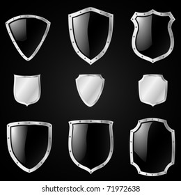 Set of shields in 9 different shapes