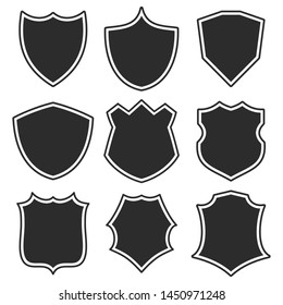 Set shields with contour. Symbols of heraldic shields. Fully editable vector image.