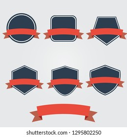 set of Shields and ribbons banner flat design,flat icon,esp10