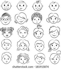 Set of shildren`s faces. Vector contour.