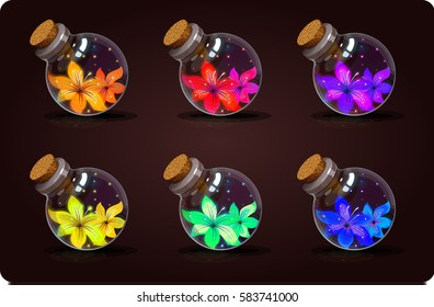 Set of shine bottles with a colorful beautiful flowers. Game icon of magic elixir. Vector design for app user interface