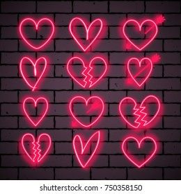 Set of shining colorful neon heart signs. Vector illustration for your graphic design.