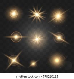 Set shining star particles and sparks On a dark  transparen backgroundt. Vector Illustration, EPS10