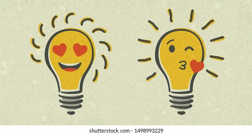 Set of shining yellow light bulb isolated on white paper background. Emoji lightbulb with love emotion. Hand-drawn vector illustration. Creative concept of idea.