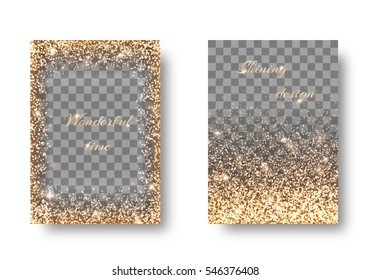 Set of shiny backgrounds with golden light on a transparent backdrop.