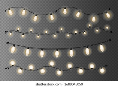 Set of shiny bright lamps and chrictmas garlands. Glowing lights for christmas holiday. Vector illustration.