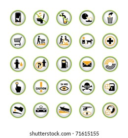 Set of shiny buttons with miscellaneous pictograms