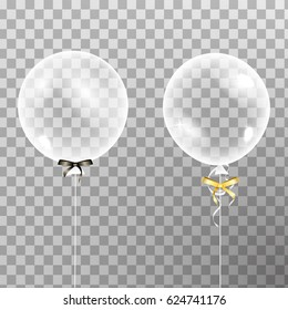Set of shiny glossy balloons.  Clear Transparent version Balloons isolated in the air.  Party decorations for birthday, anniversary, celebration. Vector illustration.