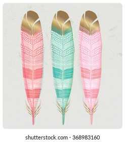 SET OF SHINY GOLD FOIL FEATHERS. Vector illustration editable file. Can be use as poster, wall art, card, print...
