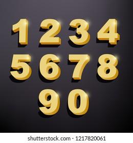 Set of shiny golden 3d numbers. Golden metallic glitter symbols on dark background. Vector image