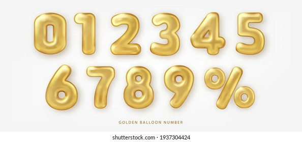 Set of shiny golden balloon number and percentage notation