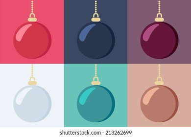 Set of shiny hanging Christmas baubles in six different color variants, vector illustration