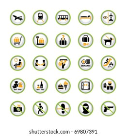 Set of shiny pictogram buttons for airport and tourism