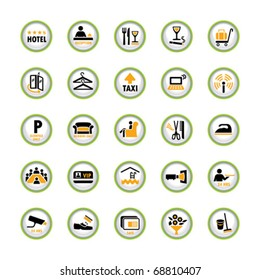 Set of shiny pictogram buttons for hospitality industry