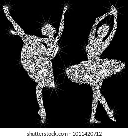 A set of shiny sparkling ballerin icons. Silhouettes of jewelry dancing ballerinas. Brilliant icon. The effect of a diamond. Transparent silvery jeweler icon.