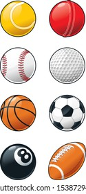 Set of shiny sports ball icons
