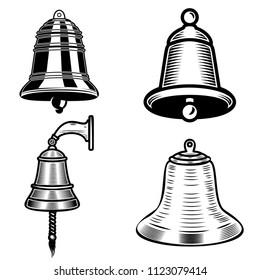 Set of ship bell illustrations on white background. Design element for logo, label, emblem, sign. Vector image