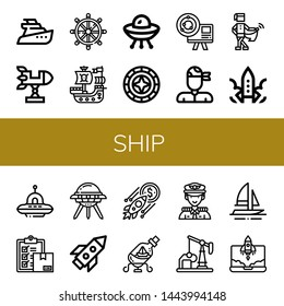 Set of ship icons such as Yatch, Rocket, Helm, Pirate ship, Ufo, Windrose, Astronomy, Pirate, Medieval, Delivery, Ship in a bottle, Captain, Oil well, Boat ,