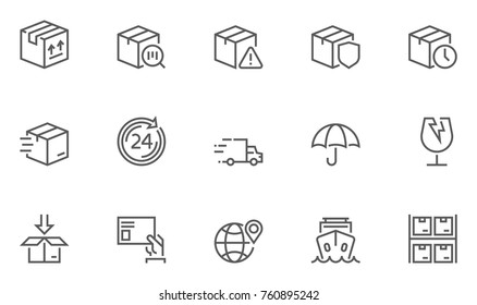 Set of Shipping Line Icons with Packaging, Package Protection, Return, Mailing and more. Editable Stroke. 48x48 Pixel Perfect.