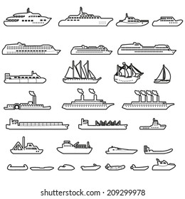 Set of ships and boats