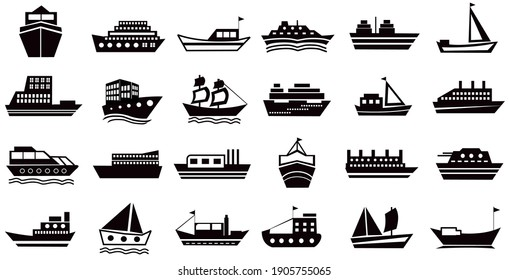 Set of Ships icons, boats silhouette symbol. contain such as icon shipping, cruise, cargo, logistics, military ship and more. editable. vector
