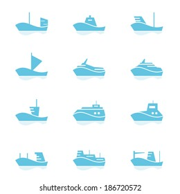 Set of ships icons. EPS10, opacity