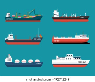 Set of ships in modern flat style. High quality delivery and shipping boats illustration. Set of container ship, bulker, ro-ro, tanker, dry cargo, ferry boat. Vector illustration on blue background.