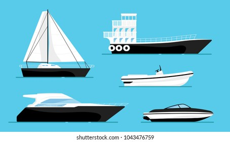 Set of ships at the sea, modern boats shipping in ocean. Beautiful elite, luxury yachts isolated on blue background. Realistic simple design. Icon and logo. Cartoon flat style vector illustration.
