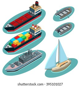 Set of ships: tanker, container ship, destroyer ship, sailboat, inflatable boat with oars, motor boat
