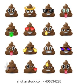 Set of shit icons, smiling faces, symbol, emoji, emoticons, vector illustration.