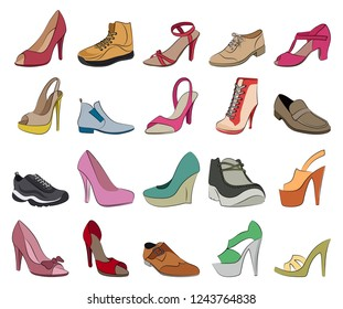 Set of Shoes flat vector icons