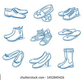 Set of shoes and foot wear as: slippers, boots, ballerinas, sandals, sneakers and high heels.  Hand drawn blue line art cartoon vector illustration.