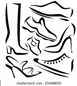 set of shoes silhouettes, vector sketch in simple black lines