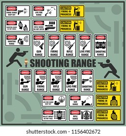 Set of shooting range safety signs and symbols. Gun range, Live-fire, Firing in progress signs.