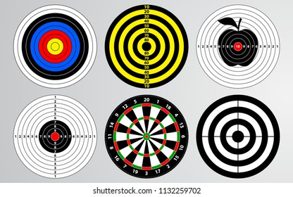Set of shooting range target vector, dart board isolated, archery for gun game player target practice.