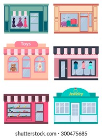Set shop. Clothing, shoes and jewelry. Vector illustration