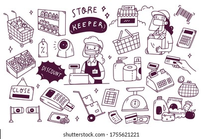 Set of shop keeper doodle in new normal condition