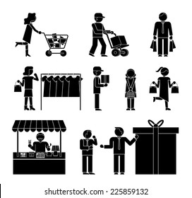 Set of shoppers and shopping icons showing a woman with a trolley  dispatch  choosing clothes  delivery  gift  promotion  packaging  and ordering  in black and white silhouettes of men and women