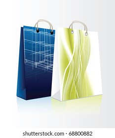 Set of shopping bags in editable format