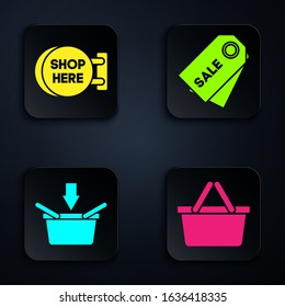 Set Shopping basket, Signboard hanging with an inscription shop here, Shopping basket and Price tag with an inscription Sale. Black square button. Vector