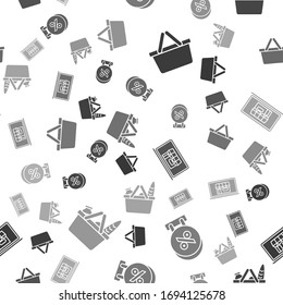 Set Shopping basket, Signboard hanging with an inscription discount percent, Shopping building on screen laptop and Shopping basket and food on seamless pattern. Vector