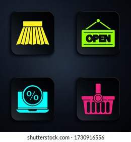 Set Shopping basket, Skirt, Percent discount and laptop and Hanging sign with Open. Black square button. Vector