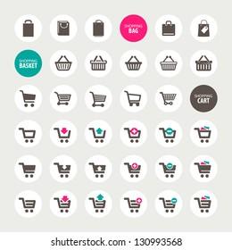 Set of shopping cart, basket and bag icons