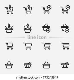 Set of shopping cart and basket vector thin line icons.