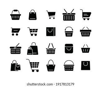 Set of shopping cart glyph icons. Simple solid style for web template and app. Online store, shop basket, bag concept. Vector illustration isolated on white background. EPS 10