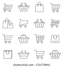 Set of shopping cart icons in modern thin line style. High quality black outline bag symbols for web site design and mobile apps. Simple cart pictograms on a white background. Vector illustration